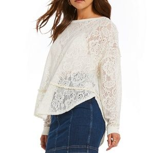 Free People Ivory Pullover Lace Knit Sweater